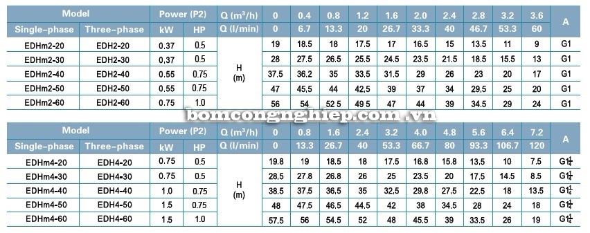 Bảng thông số kỹ thuật của máy bơm nước LEO EDH