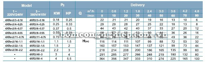 Máy bơm nước LEO 4XR3 bảng thông số kỹ thuật