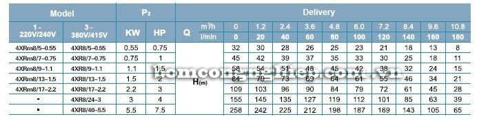 Máy bơm nước LEO 4XR8 bảng thông số kỹ thuật