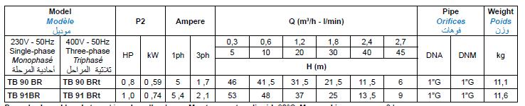 Bảng thông số kỹ thuật của máy bơm nước Matra TB