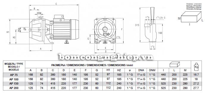 Bảng thông số kích thước của máy bơm nước Pentax AP