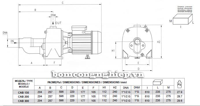 Mô tả cấu tạo của  máy bơm nước Pentax CAB