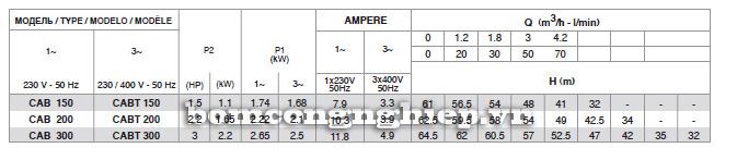 Bảng thông số kỹ thuật của  máy bơm nước Pentax CAB