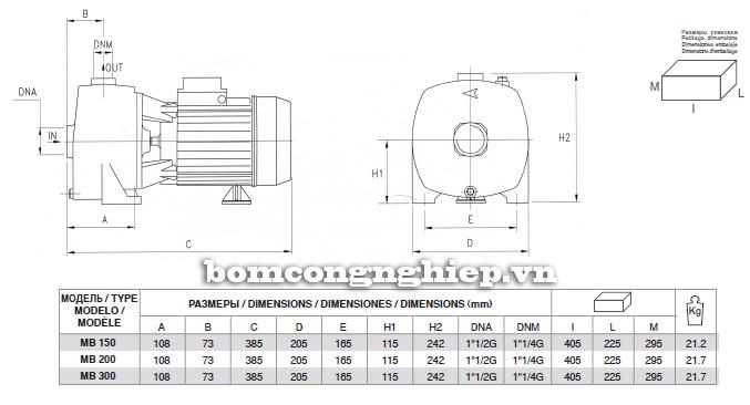 Bảng chi tiết kích thước của máy bơm nước Pentax MB