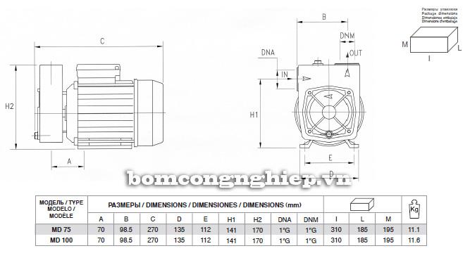 Bảng kích thước chi tiết của máy bơm nước Pentax MD