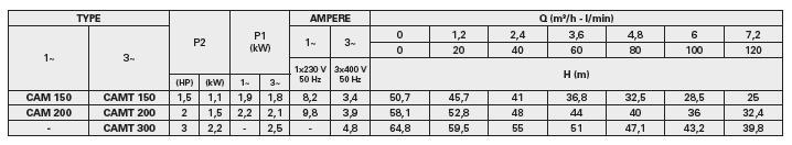 Bảng thông số kỹ thuật lưu lượng chi tiết cột áp. họng hút họng đẩy của máy bơm nước Pentax CAM 150-300