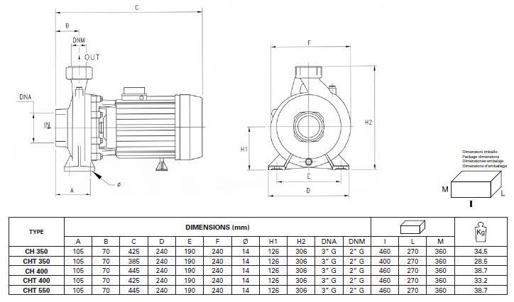 Máy bơm nước Pentax CH 350-550 chi tiết kích thước