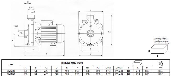 Máy bơm nước Pentax CM 400-550 bảng chi tiết kích thước