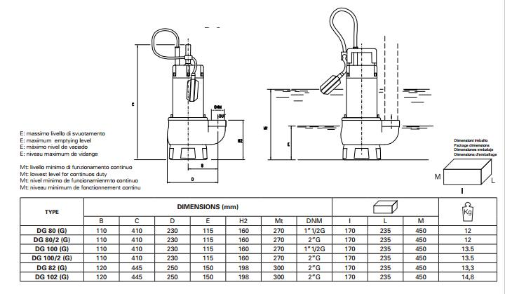 Máy bơm nước Pentax DG Chi tiết kích thước