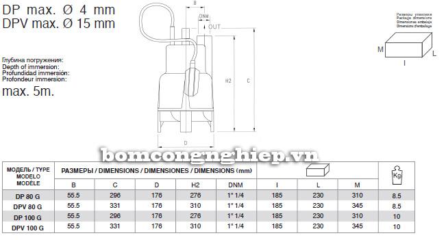 Máy bơm nước Pentax DP Máy bơm nước Pentax MP-A Máy bơm nước Pentax MP-A kích thước