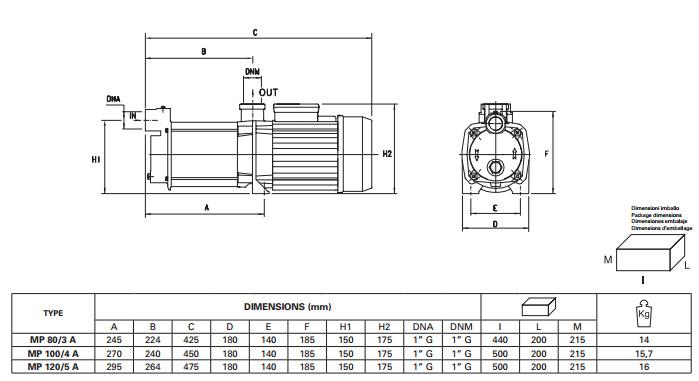 Máy bơm nước Pentax MP-A kích thước