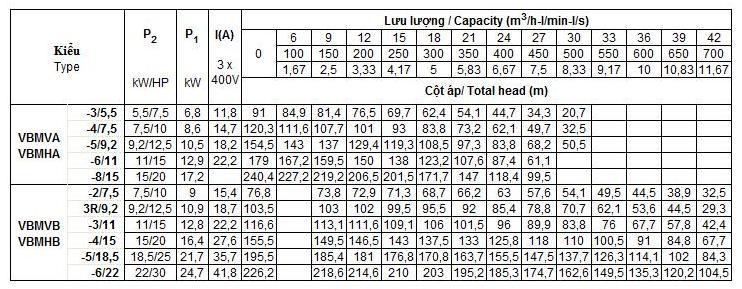 Bảng thông số kỹ thuật của máy bơm nước Vertix VBM