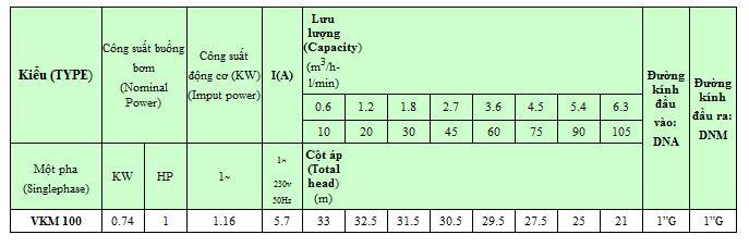 Bảng thông số lưu lượng cột ap của máy bơm nước Vertix VKM