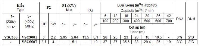 Bảng thông số kỹ thuật của máy bơm nước Vertix VSC