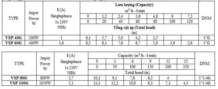 Bảng thông số kỹ thuật của máy bơm nước Vertix VSP