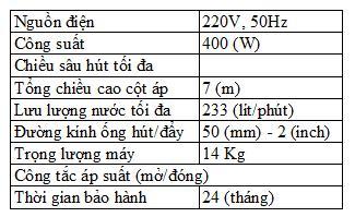 Bảng thông số kỹ thuật của máy bơm nước Wilo PDV 400EA