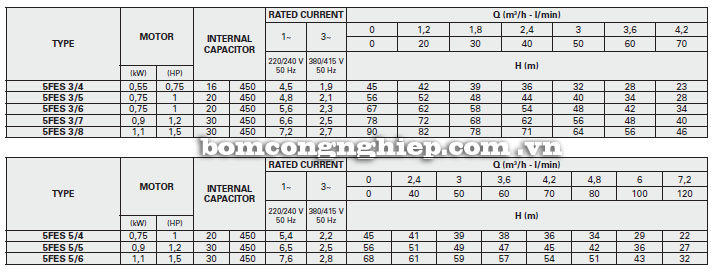 Máy bơm nước Foras 5FES bảng thông số kỹ thuật