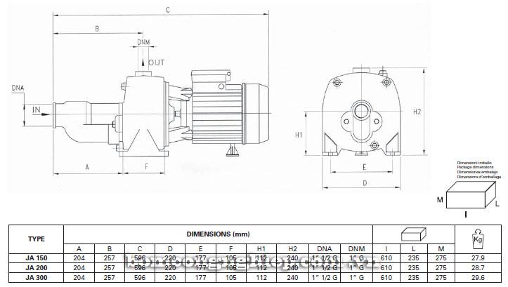 Máy bơm nước Foras JA150-300 bảng thông số kích thước