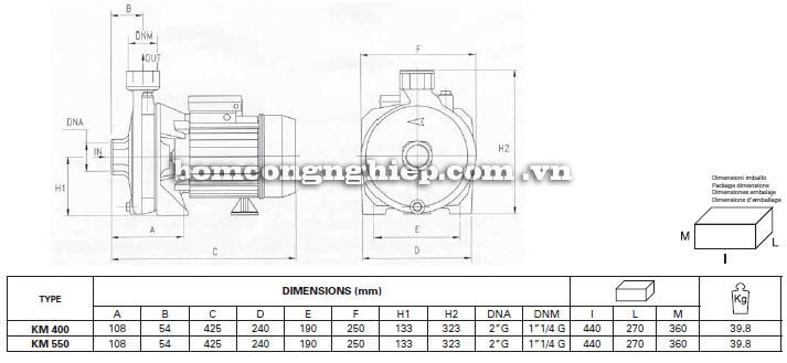 Máy bơm nước Foras KM400-550 bảng thông số kích thước