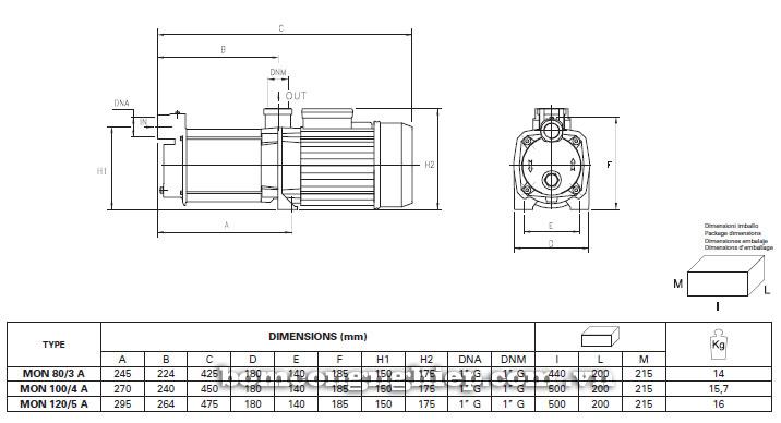 Máy bơm nước Foras MON-A bảng thông số kích thước