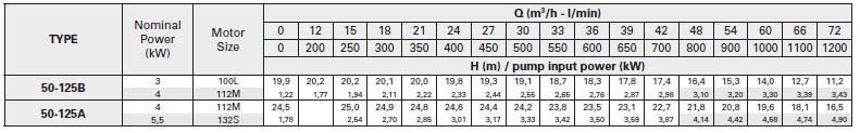 Máy bơm nước Pentax CA50-125 bảng thông số kỹ thuật