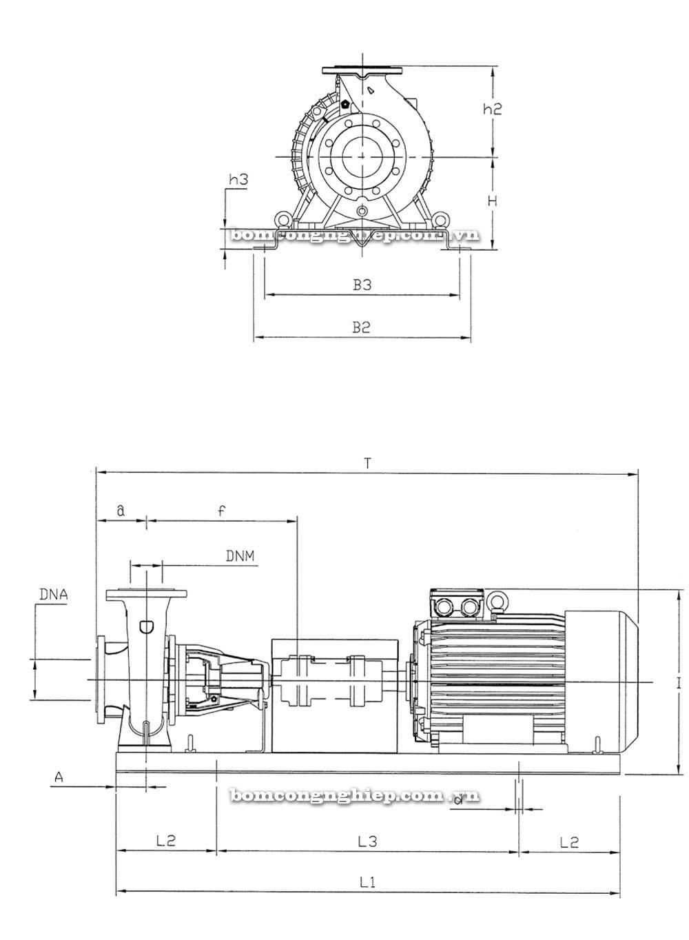 Máy bơm nước Pentax CA50-125 thông số kích thước