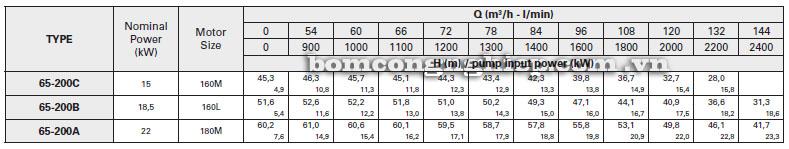 Máy bơm nước Pentax CA65-200 bảng thông số kỹ thuật