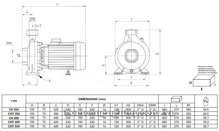Máy bơm nước Pentax CH350-550 bảng thông số kích thước