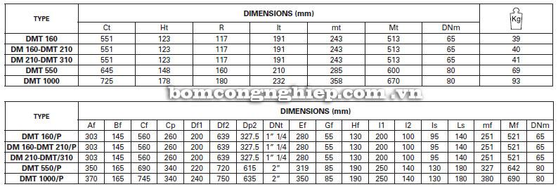 Máy bơm nước Pentax DM bảng thông số kích thước