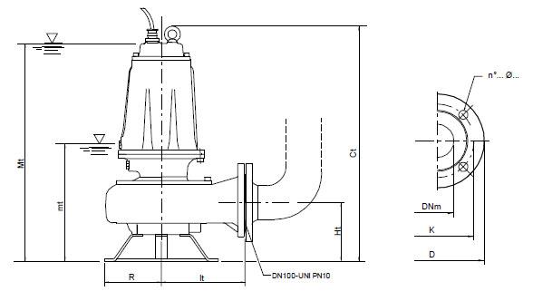 Máy bơm nước Pentax DMT kích thước