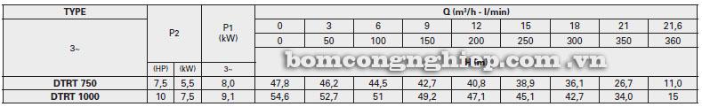 Máy bơm nước Pentax DTRT 400-1000-P bảng thông số kỹ thuật