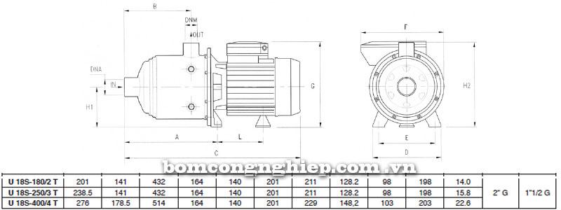Máy bơm nước Pentax Ultra 18S bảng thông số kích thước