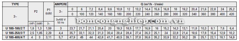 Máy bơm nước Pentax Ultra 18S bảng thông số kỹ thuật