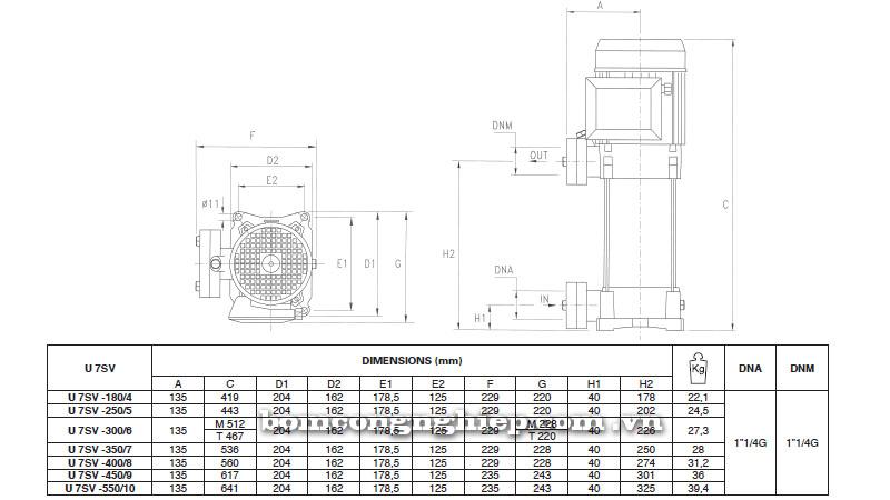 Máy bơm nước Pentax Ultra 7 SV-SL-SLX bảng thông số kích thước