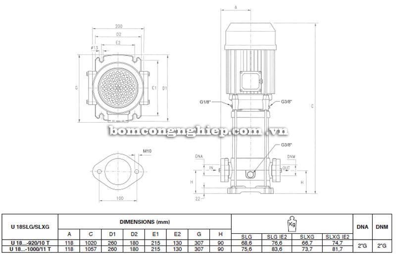 Máy bơm nước Pentax Ultra SLG-SLXG-18 bảng thông số kích thước