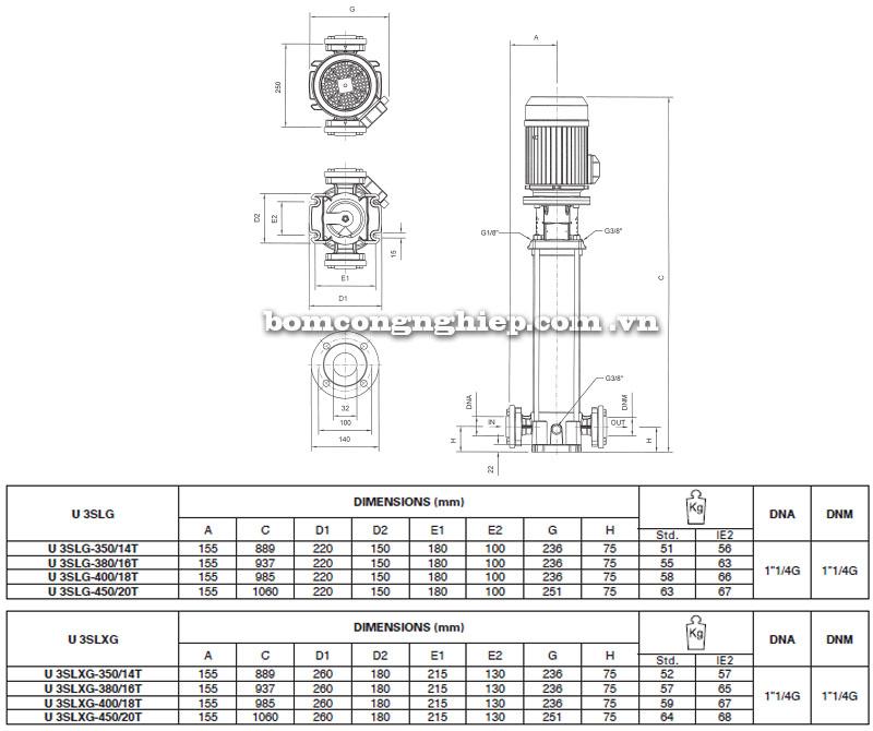 Máy bơm nước Pentax Ultra SLG-SLXG-3 bảng thông số kích thước