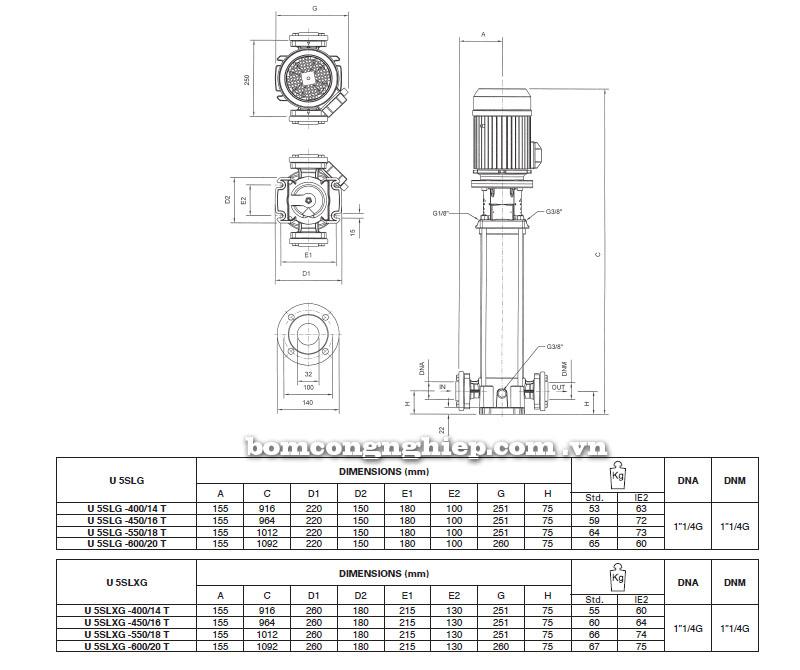 Máy bơm nước Pentax Ultra SLG-SLXG-5 bảng thông số kích thước