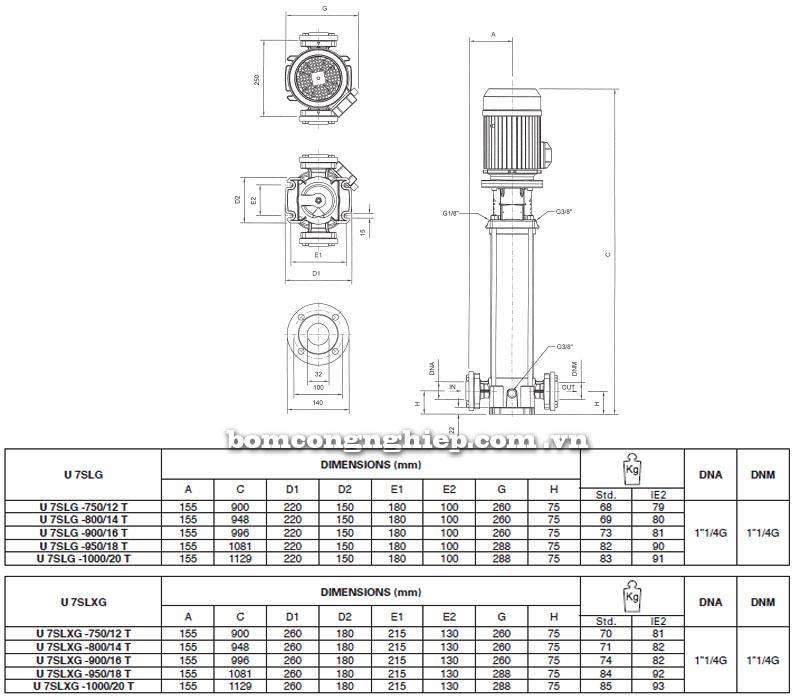 Máy bơm nước Pentax Ultra SLG-SLXG-7 bảng thông số kích thước