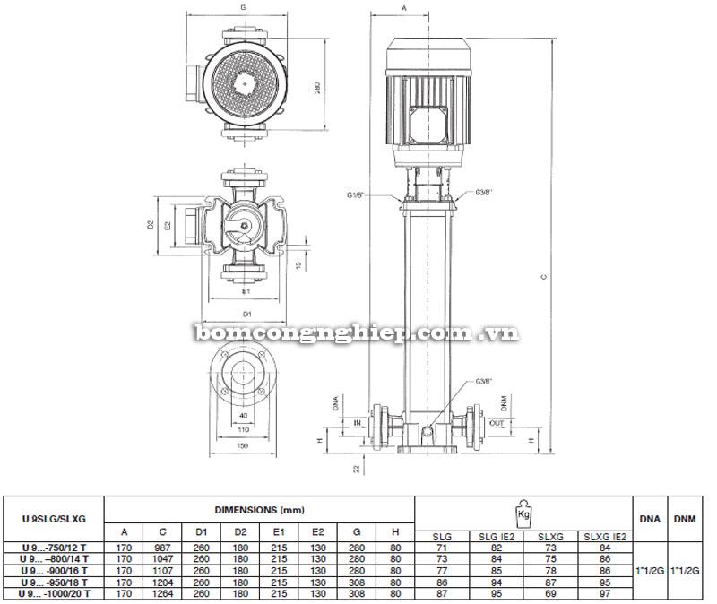 Máy bơm nước Pentax Ultra SLG-SLXG-9 bảng thông số kích thước