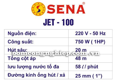 Máy bơm nước Sena Jet 100 bảng thông số kỹ thuật