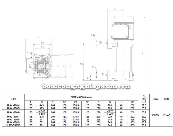 Máy bơm Pentax Ultra V-L-9 bảng thông số kích thước