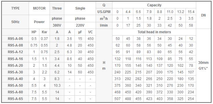 Máy bơm nước Mastra R95-A bảng thông số kỹ thuật