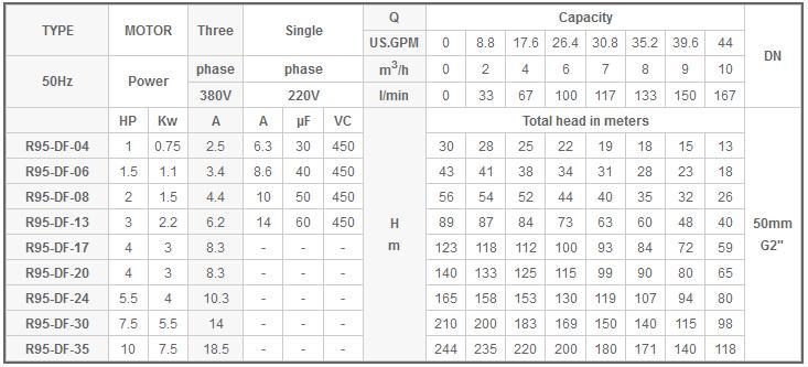 Máy bơm nước Mastra R95-DF bảng thông số kỹ thuật