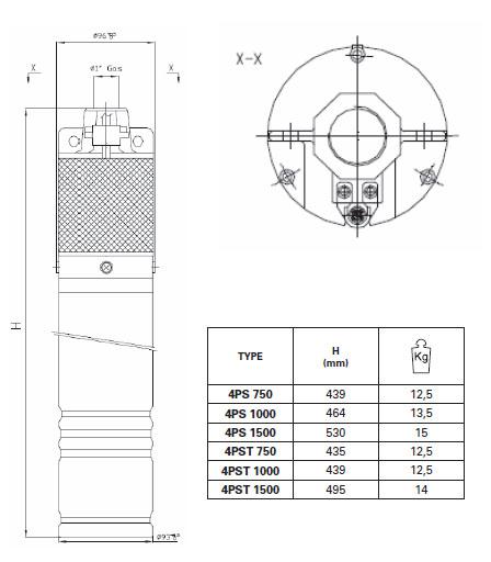 Máy bơm nước Pentax 4PS bảng thông số kích thước