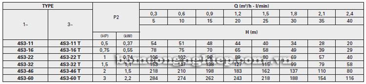 Máy bơm nước Pentax 4S3 bảng thông số kỹ thuật