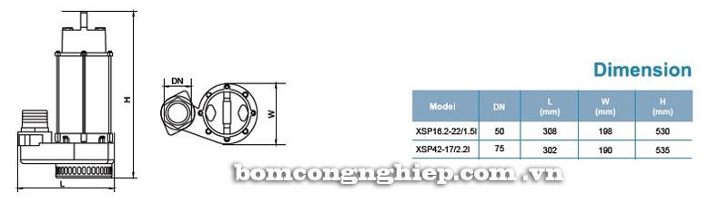Máy bơm nước thải LEO XSP42-17 bảng thông số kích thước