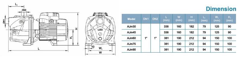 Máy bơm nước LEO AJm30 bảng thông số kích thước