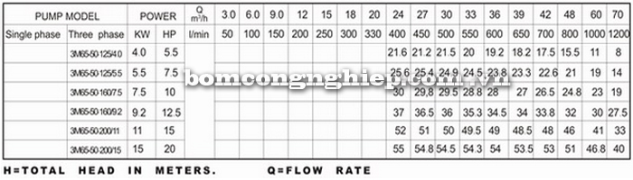 Máy bơm nước Lucky-Pro 3M 65-50 bảng thông số kỹ thuật