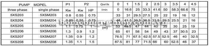 Máy bơm nước Lucky-Pro 5XS2 bảng thông số kỹ thuật