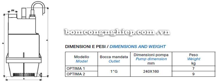 Máy bơm nước Matra OPTIMA bảng thông số kích thước